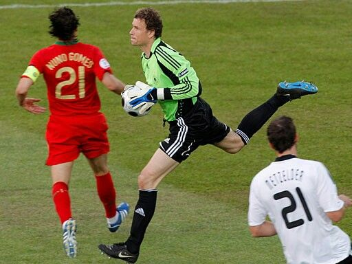 Germany 3 Portugal 2 in 2008 in Basel. German keeper Jens Lehmann shows a safe pair of hands in the Quarter Final of Euro 2008.