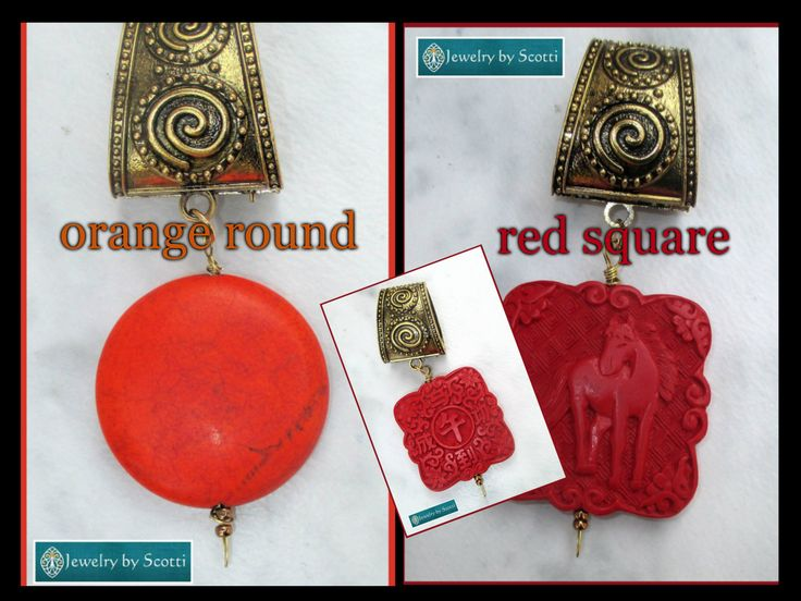 Scarf Pendant Jewelry, Red Pendant Scarf Slide, Orange Pendant Scarf Slide, Brass Scarf Jewelry, Red Pendant Bail, Orange Pendant Bail