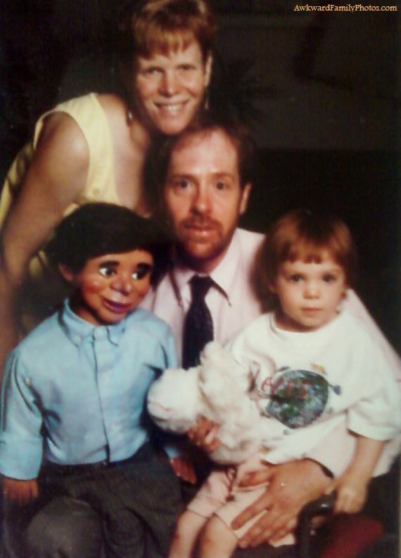 """Yes, my father's ventriloquist dummy, Gurgle Worthington, was a part of the family.""    (submitted by Aubrey): Puppets, Funny Families Photo, Family Portraits, Awkward Photo, Funny Stuff, Awkward Families Photo, Awkward Family Photos, Families Portraits, Kid"