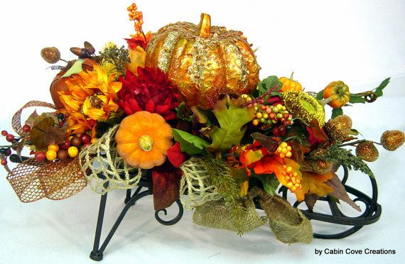 autumn fall wheelbarrow floral arrangement centerpiece