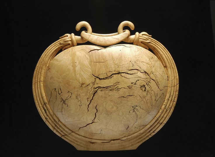 Michelle Holzapfel |  Suspended Ring Vase, 1996.  Spalted sugar maple burl
