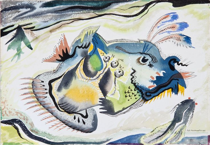 Jock MacDonald, 'Untitled - Aquatic composition' 1945 watercolour 10 x 14 inches at Art Toronto 2015 Mayberry Fine Art Booth A49