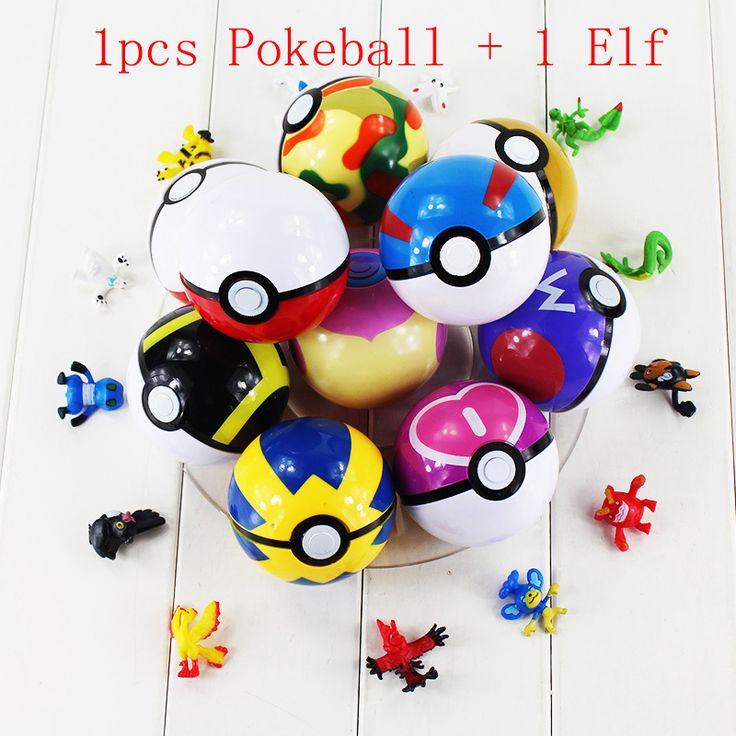 13 Stijl 1 stks Pokeball + 1 Stks willekeurige Figuur Elf elfen Poke Bal Pikachu Super Master Geweldig Ash Bal Fee Dier PVC Figuur Speelgoed