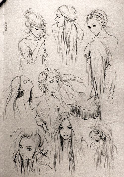 Hair study drawings