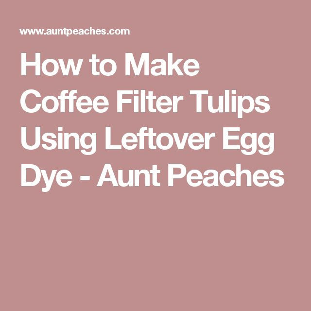 How to Make Coffee Filter Tulips Using Leftover Egg Dye - Aunt Peaches