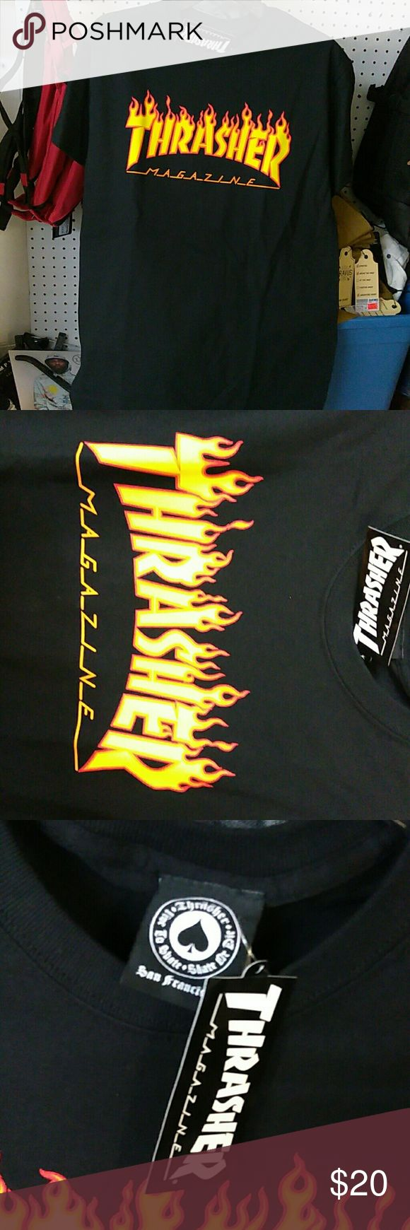 Thrasher Flames Black Shirt Men Authentic Thrasher Black Flame  Brand new with tags Supreme Shirts Tees - Short Sleeve
