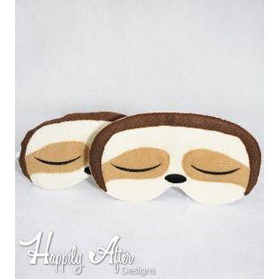 Sloth Sleep Mask ITH Embroidery Design