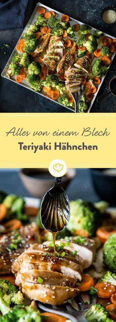 Hier kommen das Teriyaki Hähnchen und das Gemüse einfach zusammen und ab in den Ofen - für ein köstliches Gericht, alles von einem Blech!