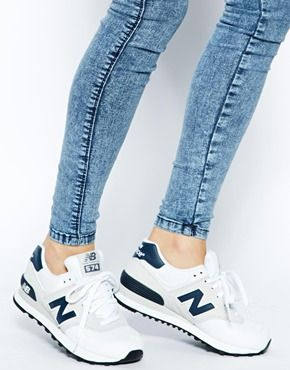 Image 4 of New Balance White Suede and Canvas 574 Trainers. Want.