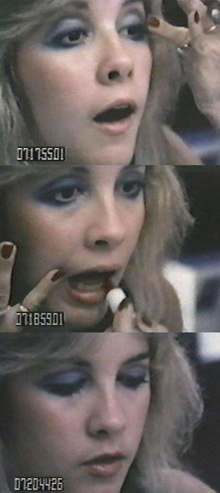 Stevie Nicks doing her makeup on the Rumours Japan Tour.