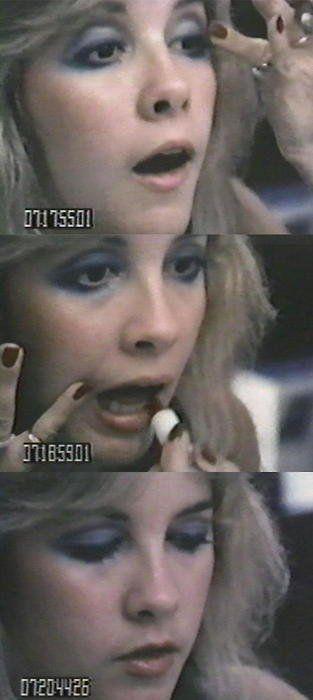 Stevie Nicks doing her makeup on the Rumours Japan Tour.