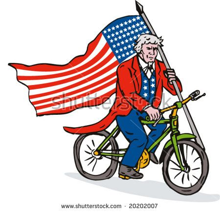 Uncle sam riding a bicycle with Flag which represents America going fuel conservation  #UncleSam #cartoon #illustration