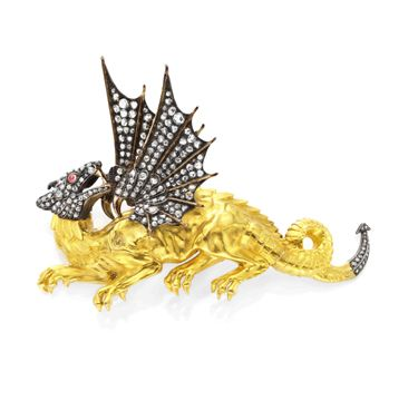 FD GALLERY | Rare & Vintage | An Antique Diamond, Ruby and Gold Dragon Brooch, circa 1850