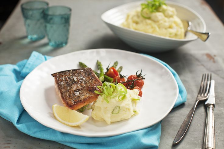 Crisp Skinned Salmon with Fetta & Potato Mash. Make creamy mashed potato really special by adding Lemnos Fetta for extra flavor and texture.#Lemnos #Fetta #recipe #cooking #yummy #mash