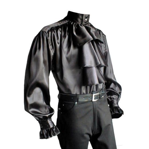 Gothic Pastorenhemd mit Stehkragen, schwarz, Satin, mögliche Größe: M