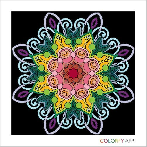 Black and Rainbow Mandala / Colourfy