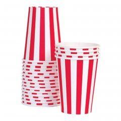 Ριγέ κόκκινα χάρτινα ποτήρια για πάρτυ
