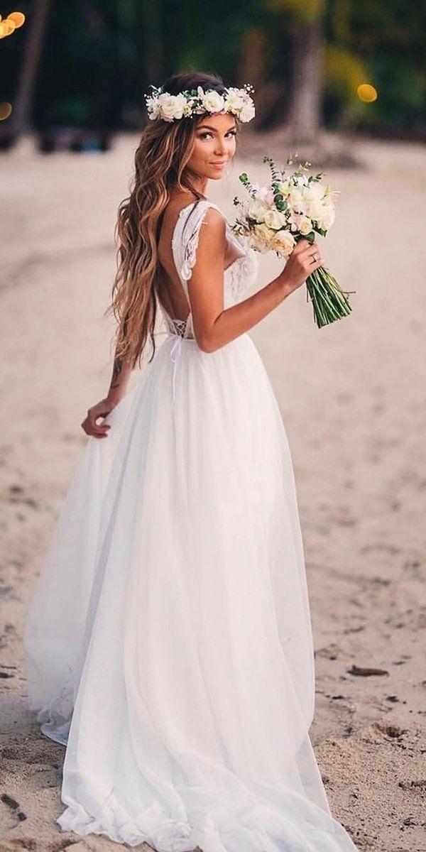 51 Beach Wedding Dresses Perfect For Destination Weddings Summer Wedding Dress Beach Beach Wedding Dress Boho Simple Wedding Dress Beach