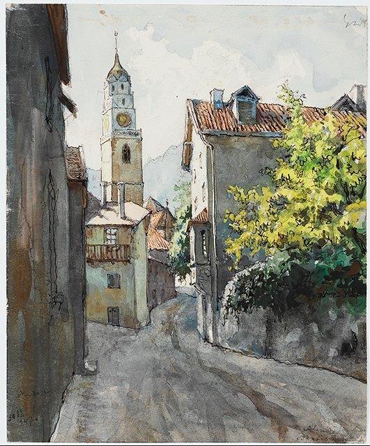 Alexander Benois (1870 — 1960, Russia - France) watercolor, gouache on cardboard.