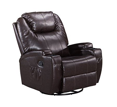 Frivity Massage Rocker Swivel Recliner Chair, Classic and Traditional Heating Vibrating Bonded Leather Reclining Chair, 1 Seat Motion Sofa Recliner Chair with Overstuffed Arms and Back, Brown