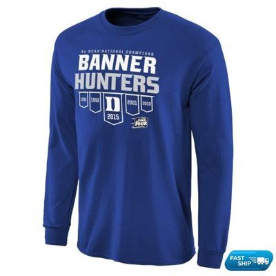 Men's Duke Blue Duke Blue Devils 2015 NCAA Men's Basketball National Champions Banner Hunters Long Sleeve T-Shirt