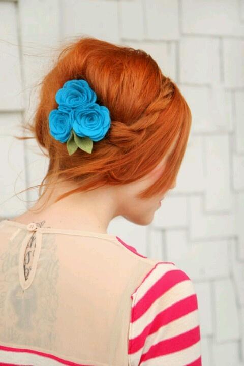 Hebbe: Maiden Twist, Twisted Braid, Hair Colors, Red Hair, Hairstyle, Hair Style, Blue Flower, Pretty Hair, Felt Flowers