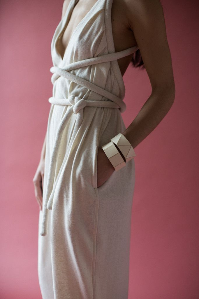 Electric Feathers Infinite Rope Jumpsuit in Ivory Hemp Jersey | Oroboro Store