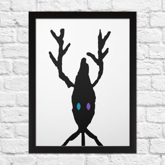 Deer Portrait  A4 Minimal art print.  Look deep into Deers eyes. You will discover the truth. The truth about deers with no eyes. You know what you call one of them right?...