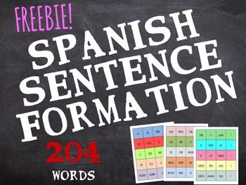 Spanish Word Order Practice - 204 words, 30 sentences: an easy and engaging activity to practice word order and sentence structure.  The resource includes 204 word cards to cut (30 already-made sentences, 5 level of difficulty). You can use the words for two different activities.