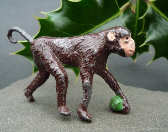 Tiny Monkey Vintage Lead Toy Small Monkey by APureVintage on Etsy