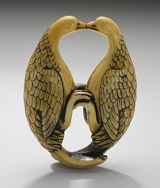 Kissing Geese, 18th century  Netsuke, Ivory with staining,