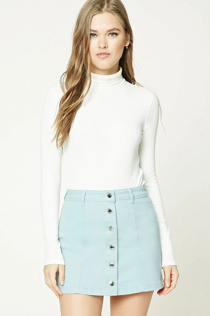 Seafoam Button-Front Denim Mini Skirt | Forever 21 | button front skirt | spring | pastel | spring style | easy spring outfits