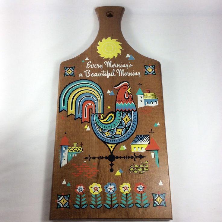 Vintage Berggren Rooster Weather Vane Cutting Board Scandinavian Colorful Design