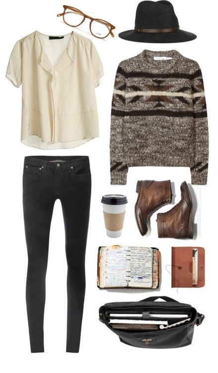 Hat, combats boots, sweater