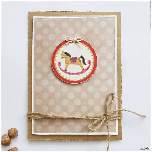 misha_cards / ❄Vianočná pohľadnica s  hojdacím koníkom❄