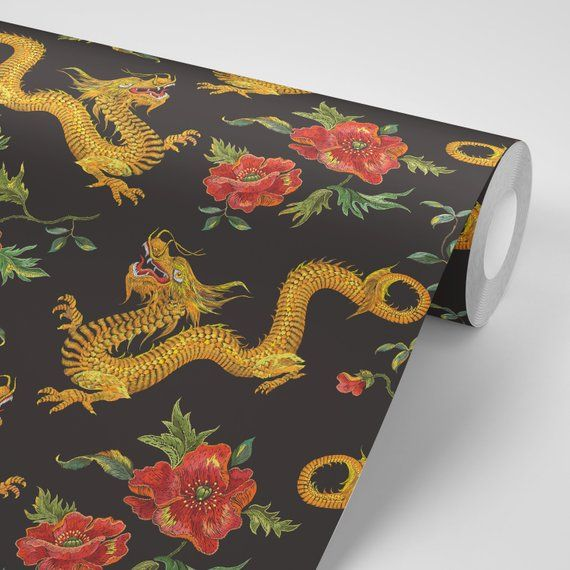 Wallpaper Asian Dragon Japanese With Floral Wallpaper Black Etsy Floral Wallpaper Asian Dragon Wallpaper