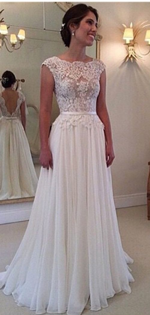 A-line Lace Scalloped Chiffon Open Back Wedding Dress I love it so much and it's great for bridal  http://www.shedressing.com/