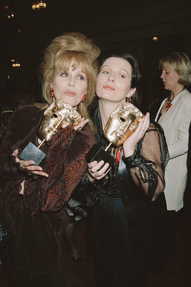 Joanna Lumley & Jennifer Saunders with their BAFTA's