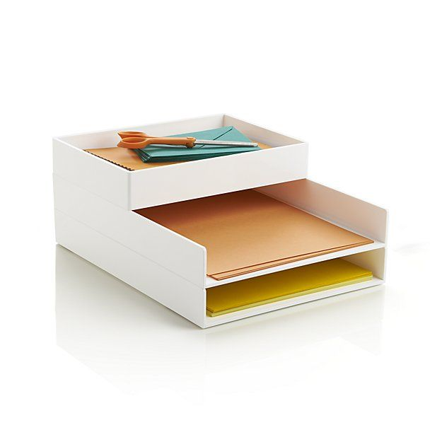 Poppin ® White Letter Tray | Crate and Barrel