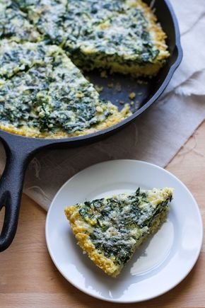 """Kale frittata with millet crust - pretty brunch dish! """"While it may seem like a heavy dish with tons of eggs and a thick crust, it only adds up to 1 egg per slice and just over 1/3 cup of millet.  It also packs 1/2 cup of kale per slice!"""""""