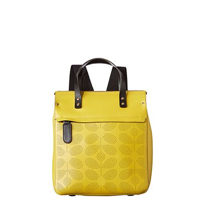 Orla Kiely | UK | bags | Mainline bags | Sixties Stem Punched Leather Joanie Backpack (16SBSSP301) | yellow