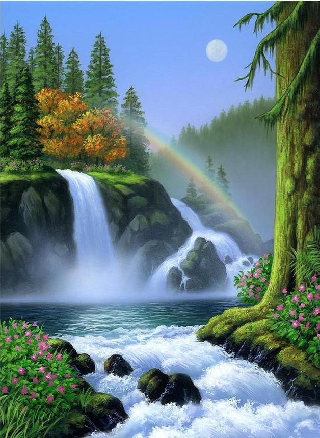 Waterfall And Rainbow Scene Diamond Painting With Images