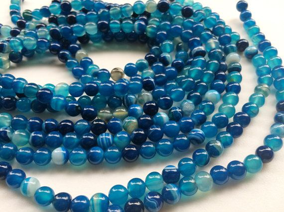 WHOLESALE 5 Strands Aqua Blue Agate Beads Aqua by gemsforjewels