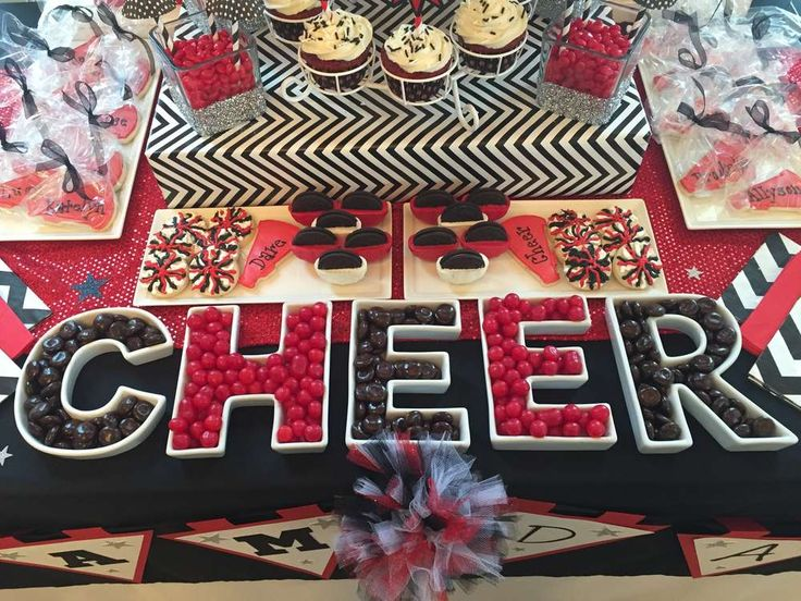 Candy and treats at a Cheerleading birthday party! See more party planning ideas at CatchMyParty.com!