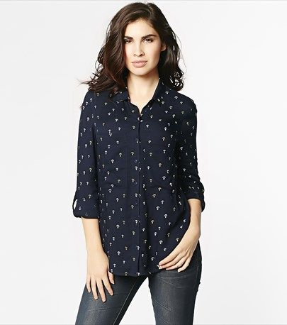 #DYNHOLIDAY An essential in every wardrobe! This crepe button down blouse is perfect for dressing up or down! Pair it with jeans for a weekend look or with our dressing pants for the office.