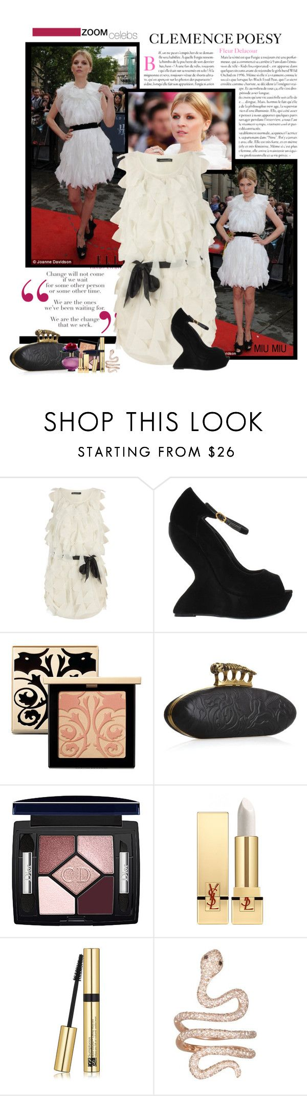 """""""Harry Potter and the deathly hallows (part 2) London premiere - Clemence Poésy"""" by miumiu ❤ liked on Polyvore featuring Fergie, Ultimo, Emma Watson, Dorothy Perkins, Alexander McQueen, Clarins, Marc Jacobs, Christian Dior, Yves Saint Laurent and Estée Lauder"""