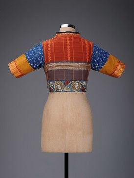 Red-Blue Hand-painted Kalamkari Cotton Blouse with Embroidery