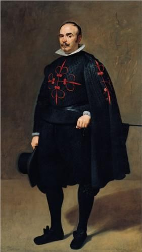 Portrait of Pedro de Barberana y Aparregui - Diego Velazquez, 1631-33, Kimball Art Museum.    Prominently displayed on his doublet and cape is the red cross of the Order of Calatrava