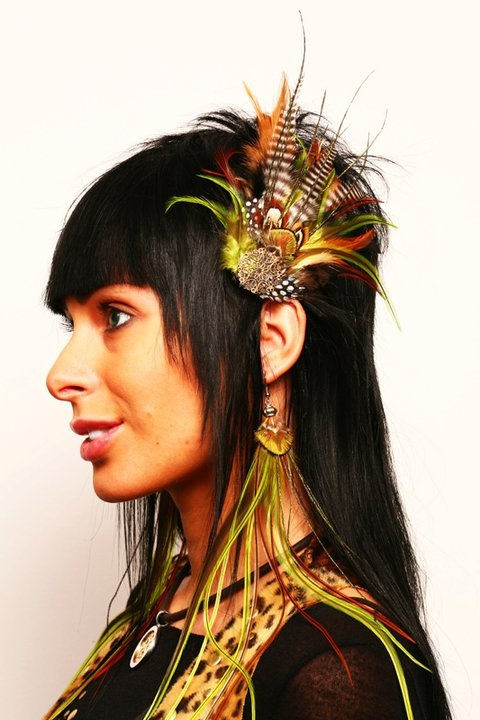 hairclip and earrings set with feathers of guinea fowl, pheasant and jungle cock.