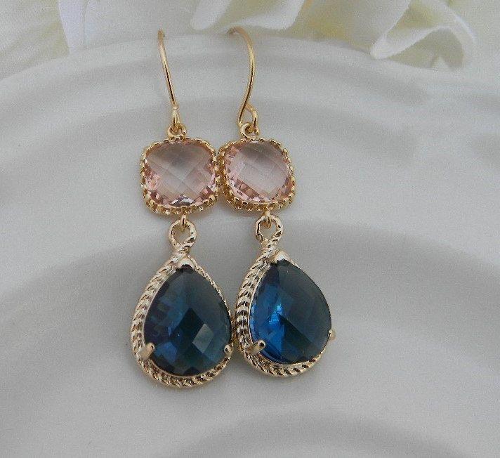Navy Earrings, Peach Earrings, Champagne Blush Earrings, Sapphire Earrings, Navy Bridsmaid Earrings, Bridesmaid Gift, Wedding Earrings, Gift